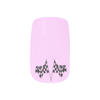 Checkered Flags Light Pink Minx Nail Art