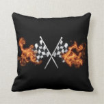 Checkered flags on fire pillow