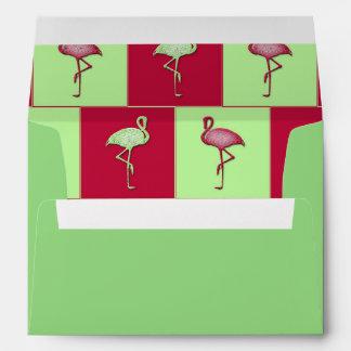 Checkered flamingos pattern envelope