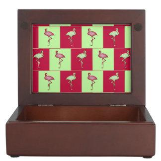 Checkered flamingos pattern keepsake box