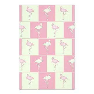 Checkered flamingos pattern stationery