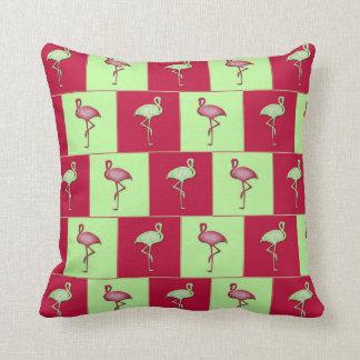 Checkered flamingos pattern throw pillow