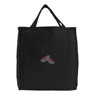 Checkered Flip Flops Embroidered Tote Bags