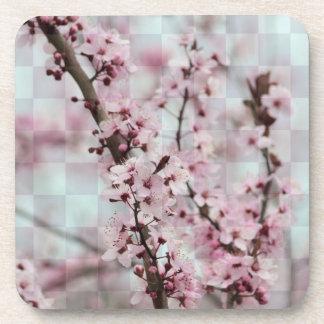 Checkered Floral Beverage Coaster