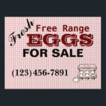 "Checkered Fresh Free Range Eggs Sign<br><div class=""desc"">This customizable sign will advertise your egg business to potential customers.</div>"