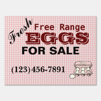 Checkered Fresh Free Range Eggs Sign