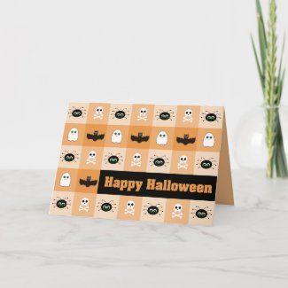 Checkered Ghoulies Halloween Greeting Card card