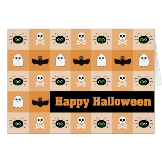 Checkered Ghoulies Halloween Greeting Card