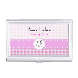 Checkered Gingham Pattern - Pink White Business Card Holders