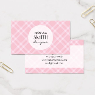 Checkered Gingham Pattern (Squared Pattern) - Pink Business Card