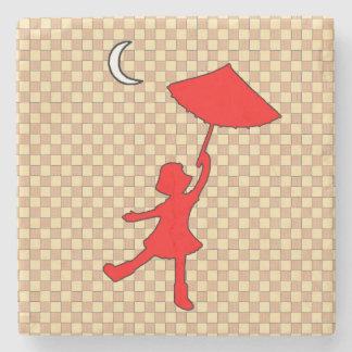Checkered Girl dancing with an umbrella Stone Coaster