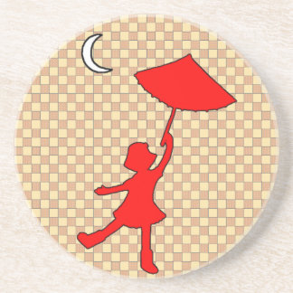 Checkered Girl dancing with her umbrella Coaster