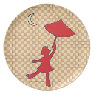 Checkered Girl dancing with her umbrella Dinner Plate