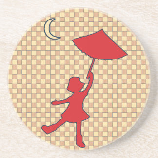 Checkered Girl dancing with her umbrella Drink Coaster