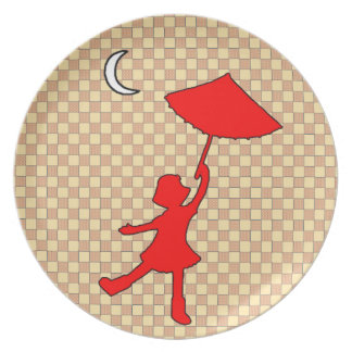 Checkered Girl dancing with her umbrella Plate