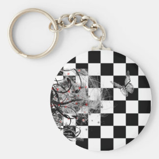 Checkered Graphic Butterfly and Swirls Basic Round Button Keychain