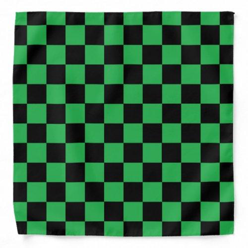 Checkered Green and Black Bandana