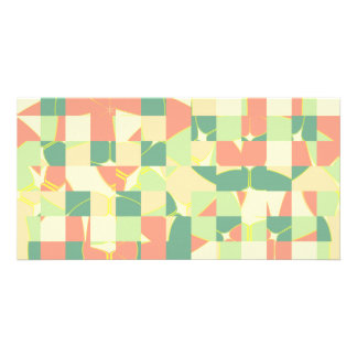 Checkered green and salmon card
