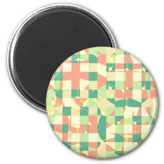 Checkered green and salmon magnet