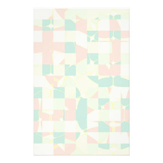 Checkered green and salmon stationery