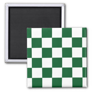 Checkered Green and White 2 Inch Square Magnet