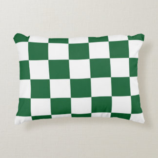 Checkered Green and White Accent Pillow