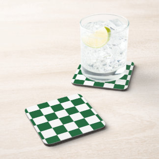 Checkered Green and White Beverage Coasters