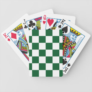 Checkered Green and White Bicycle Playing Cards
