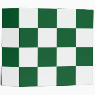 Checkered Green and White Binders