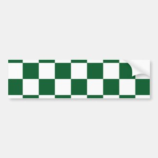 Checkered Green and White Bumper Sticker