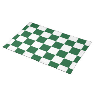 Checkered Green and White Cloth Placemat