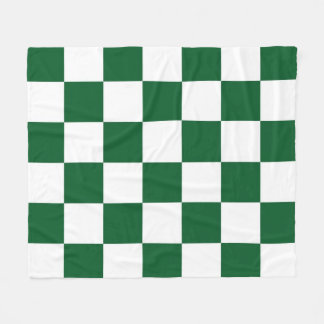 Checkered Green and White Fleece Blanket