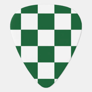 Checkered Green and White Guitar Pick