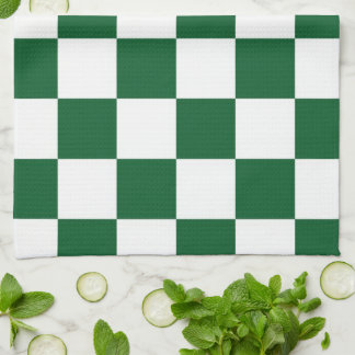 Checkered Green and White Hand Towel