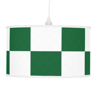 Checkered Green and White Hanging Lamps