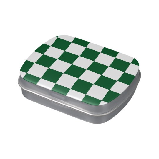 Checkered Green and White Jelly Belly Candy Tins