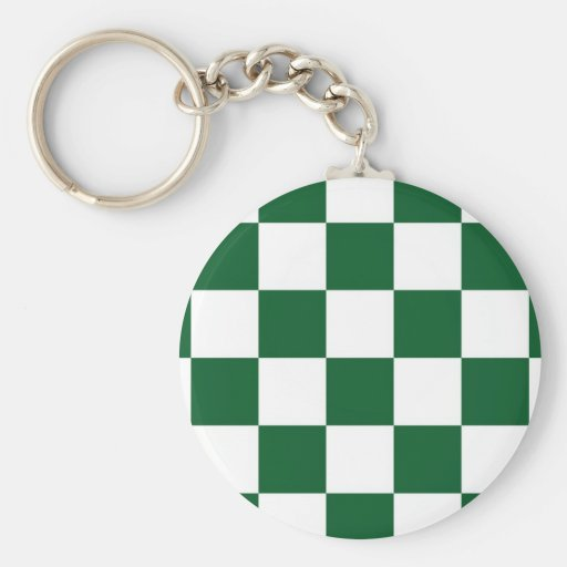Checkered Green and White Keychains