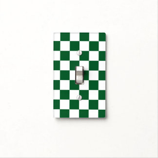 Checkered Green and White Light Switch Plate