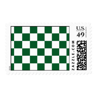 Checkered Green and White Postage Stamp