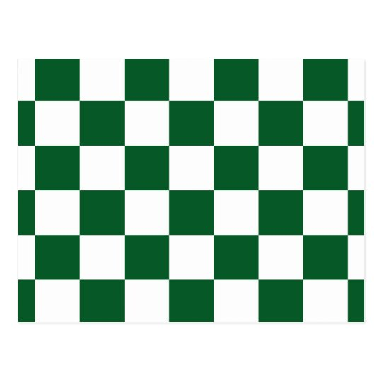 Checkered Green and White Postcard