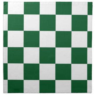 Checkered Green and White Printed Napkins