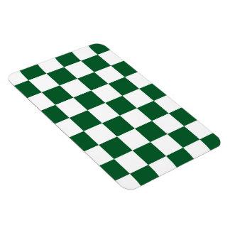 Checkered Green and White Rectangular Photo Magnet