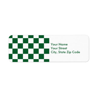 Checkered Green and White return address label