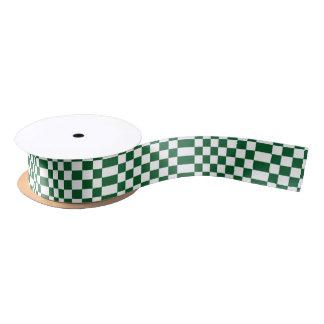 Checkered Green and White Satin Ribbon