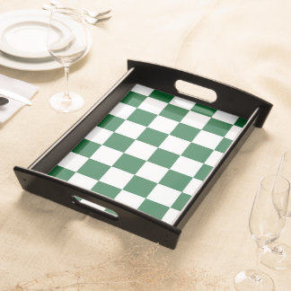 Checkered Green and White Service Trays