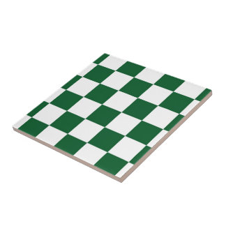 Checkered Green and White Small Square Tile