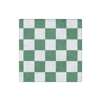 Checkered Green and White Stone Magnet