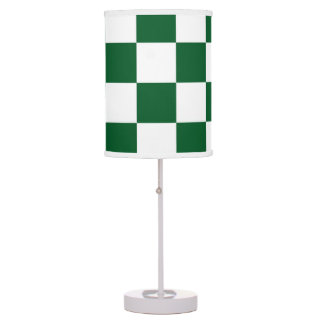 Checkered Green and White Table Lamps