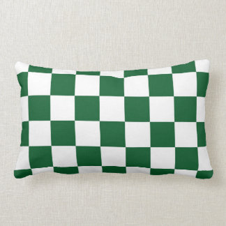 Checkered Green and White Throw Pillow