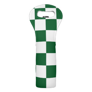 Checkered Green and White Wine Bags